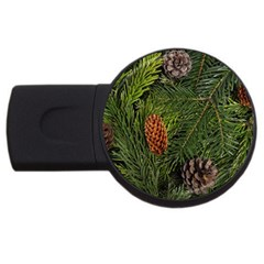Branch Christmas Cone Evergreen Usb Flash Drive Round (4 Gb) by Celenk