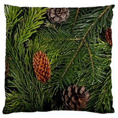 Branch Christmas Cone Evergreen Large Cushion Case (two Sides) by Celenk