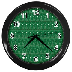 Christmas Tree Pattern Design Wall Clocks (black) by Celenk