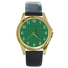 Christmas Tree Pattern Design Round Gold Metal Watch by Celenk