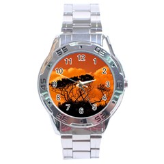 Trees Branches Sunset Sky Clouds Stainless Steel Analogue Watch by Celenk