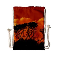 Trees Branches Sunset Sky Clouds Drawstring Bag (small) by Celenk