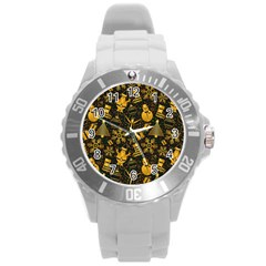 Christmas Background Round Plastic Sport Watch (l) by Celenk