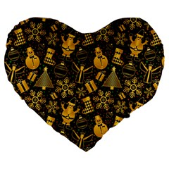 Christmas Background Large 19  Premium Flano Heart Shape Cushions by Celenk