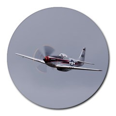 P 51 Mustang Flying Round Mousepads by Ucco