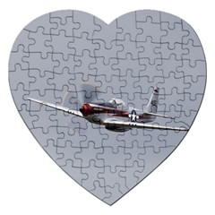 P 51 Mustang Flying Jigsaw Puzzle (heart) by Ucco