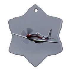 P 51 Mustang Flying Snowflake Ornament (two Sides) by Ucco