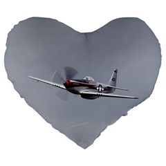 P 51 Mustang Flying Large 19  Premium Flano Heart Shape Cushions by Ucco