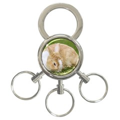 Beautiful Blue Eyed Bunny On Green Grass 3 Ring Key Chains by Ucco