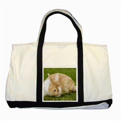 Beautiful Blue Eyed Bunny On Green Grass Two Tone Tote Bag