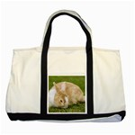 Beautiful Blue Eyed Bunny On Green Grass Two Tone Tote Bag Front