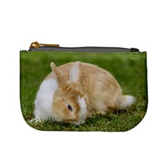 Beautiful Blue Eyed Bunny On Green Grass Mini Coin Purses by Ucco