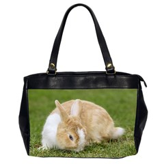 Beautiful Blue Eyed Bunny On Green Grass Office Handbags (2 Sides)  by Ucco
