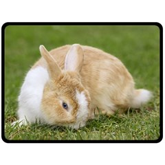 Beautiful Blue Eyed Bunny On Green Grass Fleece Blanket (large)  by Ucco