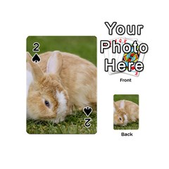 Beautiful Blue Eyed Bunny On Green Grass Playing Cards 54 (mini)  by Ucco