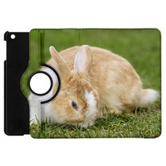 Beautiful Blue Eyed Bunny On Green Grass Apple Ipad Mini Flip 360 Case by Ucco