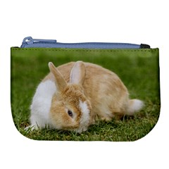Beautiful Blue Eyed Bunny On Green Grass Large Coin Purse by Ucco