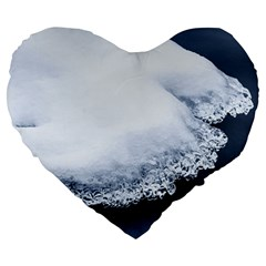 Ice, Snow And Moving Water Large 19  Premium Heart Shape Cushions by Ucco