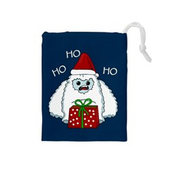 Yeti Xmas Drawstring Pouches (medium)  by Valentinaart