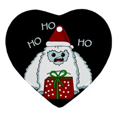 Yeti Xmas Heart Ornament (two Sides) by Valentinaart