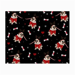 Pug Xmas Pattern Small Glasses Cloth by Valentinaart