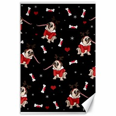 Pug Xmas Pattern Canvas 24  X 36  by Valentinaart