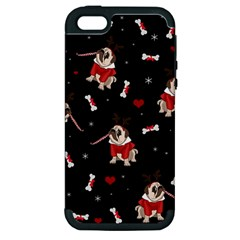 Pug Xmas Pattern Apple Iphone 5 Hardshell Case (pc+silicone) by Valentinaart