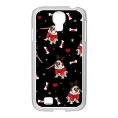 Pug Xmas Pattern Samsung Galaxy S4 I9500/ I9505 Case (white) by Valentinaart