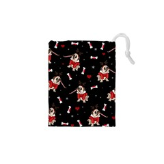 Pug Xmas Pattern Drawstring Pouches (xs)  by Valentinaart