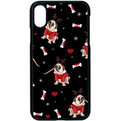 Pug Xmas Pattern Apple Iphone X Seamless Case (black)