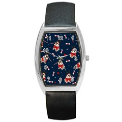 Pug Xmas Pattern Barrel Style Metal Watch by Valentinaart