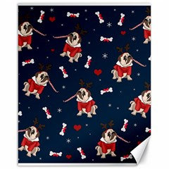 Pug Xmas Pattern Canvas 16  X 20   by Valentinaart