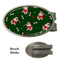 Pug Xmas Pattern Money Clips (oval)  by Valentinaart