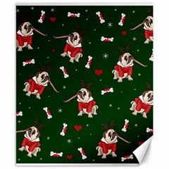 Pug Xmas Pattern Canvas 8  X 10  by Valentinaart