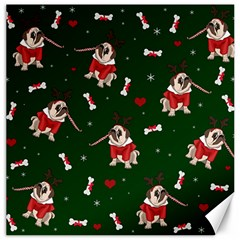 Pug Xmas Pattern Canvas 20  X 20   by Valentinaart