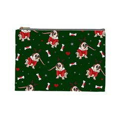 Pug Xmas Pattern Cosmetic Bag (large)  by Valentinaart