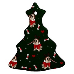 Pug Xmas Pattern Christmas Tree Ornament (two Sides) by Valentinaart