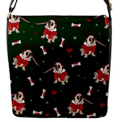 Pug Xmas Pattern Flap Messenger Bag (s) by Valentinaart