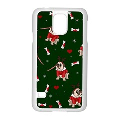 Pug Xmas Pattern Samsung Galaxy S5 Case (white) by Valentinaart