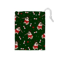 Pug Xmas Pattern Drawstring Pouches (medium)  by Valentinaart