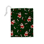 Pug Xmas Pattern Drawstring Pouches (Medium)  Back