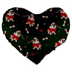 Pug Xmas Pattern Large 19  Premium Flano Heart Shape Cushions by Valentinaart