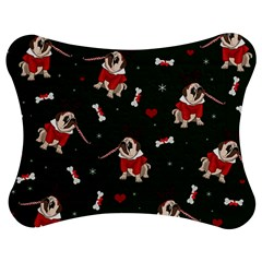 Pug Xmas Pattern Jigsaw Puzzle Photo Stand (bow) by Valentinaart