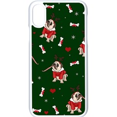 Pug Xmas Pattern Apple Iphone X Seamless Case (white)