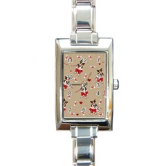 Pug Xmas Pattern Rectangle Italian Charm Watch by Valentinaart