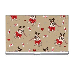 Pug Xmas Pattern Business Card Holders by Valentinaart