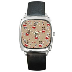 Pug Xmas Pattern Square Metal Watch by Valentinaart