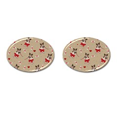 Pug Xmas Pattern Cufflinks (oval)