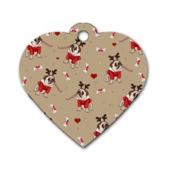 Pug Xmas Pattern Dog Tag Heart (one Side) by Valentinaart