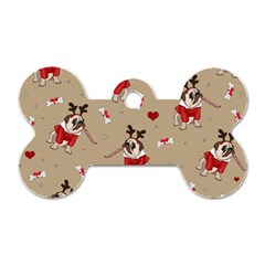 Pug Xmas Pattern Dog Tag Bone (one Side) by Valentinaart